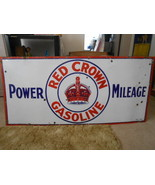 Vintage Sign Red Crown Gasoline Power Milage Si... - $1,747.44