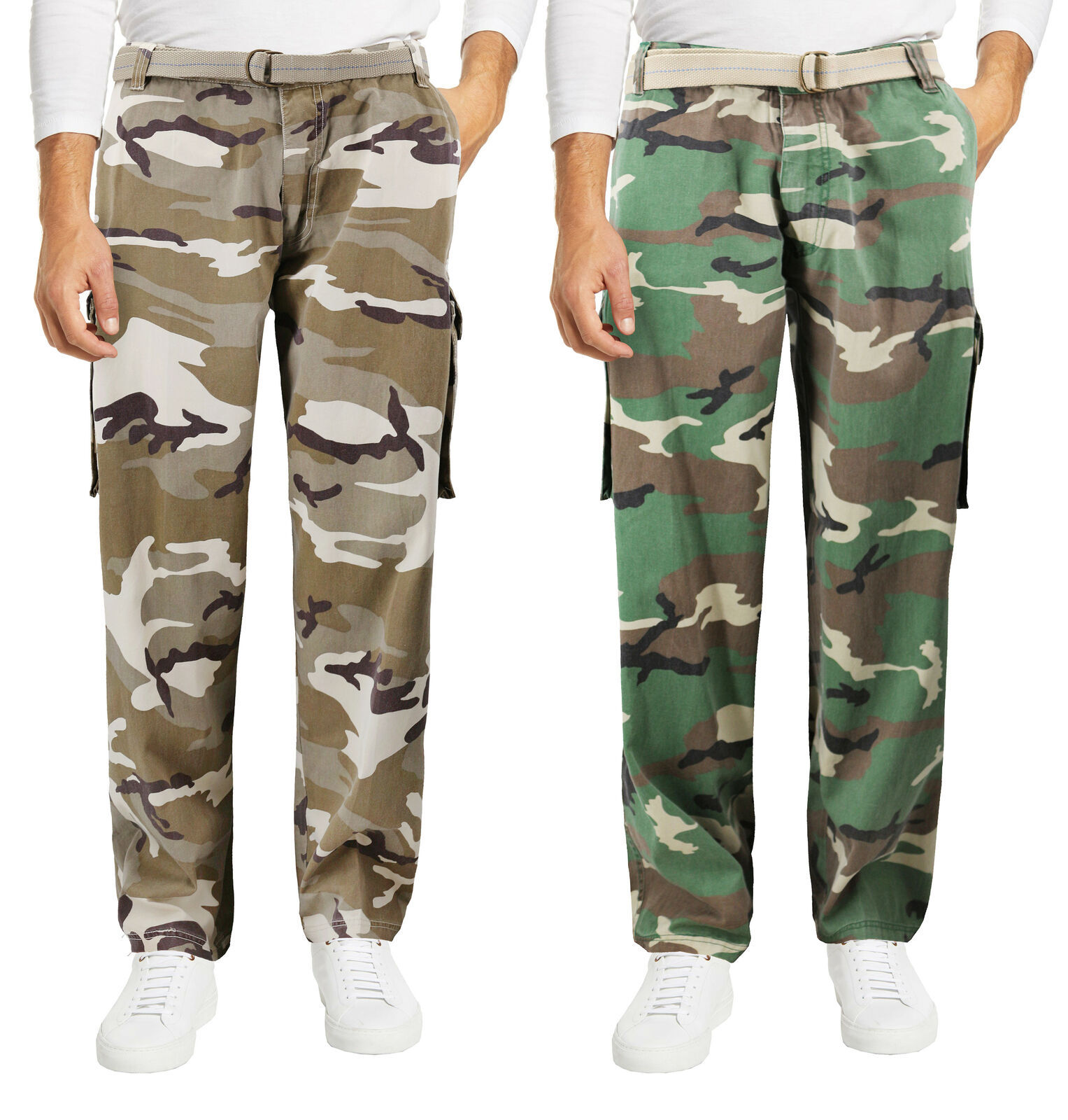 Men's Casual Belted Army Camo Trousers Camouflage Tactical Utility Cargo Pants