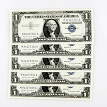 1957 A $1 SILVER CERT CONSECUTIVE 5 BILLS H84327301A-H84327305A - $113.84