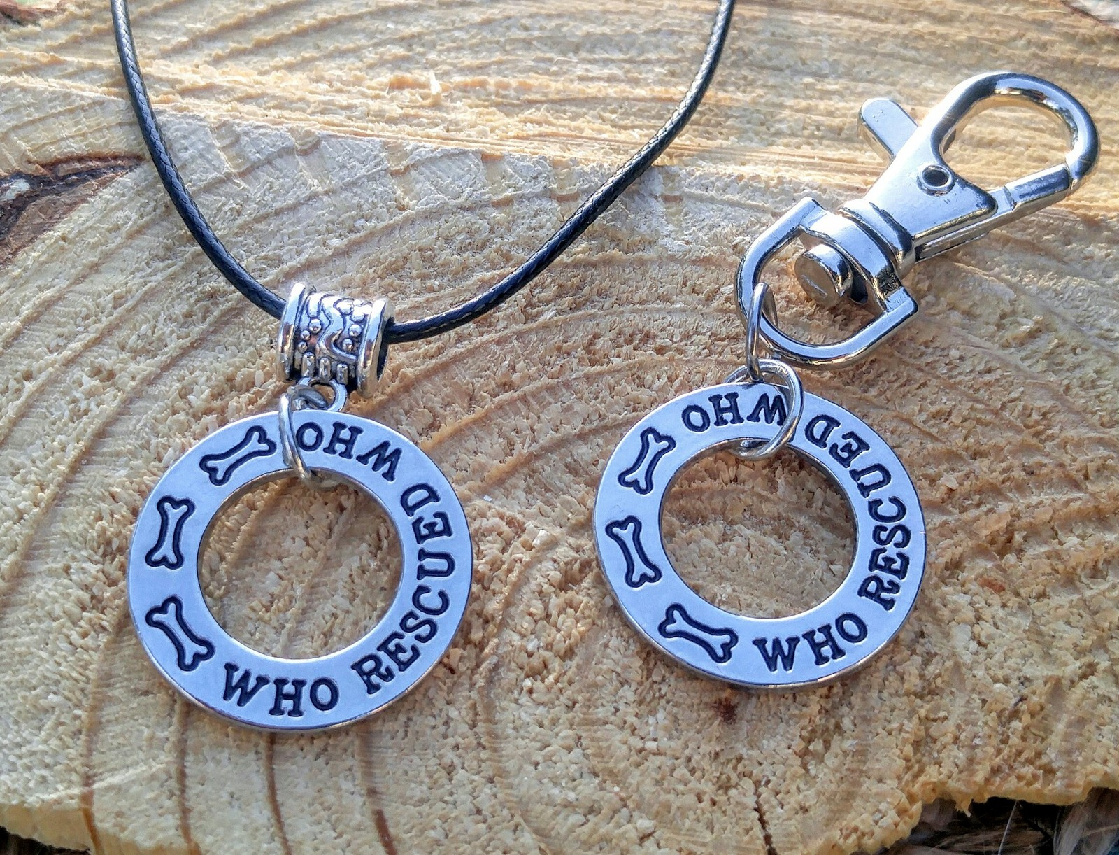 Primary image for Who Rescued Who Necklace & Dog Tag