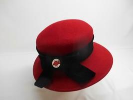 Old Vtg DESIGNER LIZ CLAIBORNE RED WOMEN'S HAT w/ RED HAT SOCIETY PIN Badge - $39.59