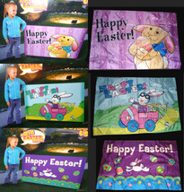 Easter Party Banner-Happy Spring Sign/Flag/Wall Hanging Bunny Eggs Car G... - $14.97