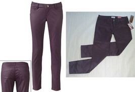 MUDD Skinny Stretch Jeggings-Egyptian Red Maroon Wine-Coated Leather Loo... - $25.97