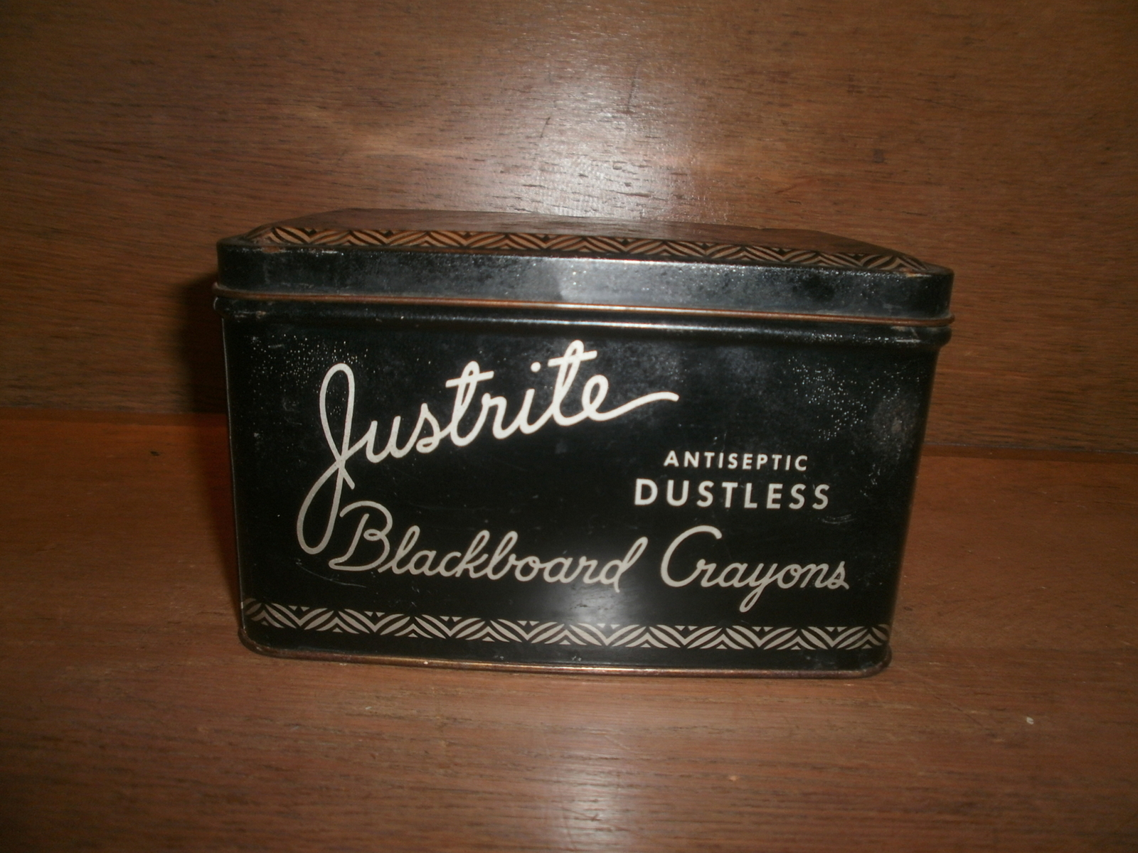 "Antique , "" Justrite Dustless Blackboard Crayons ""  Collectable Tin"