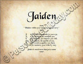 Jaiden Hidden Within Your Name Is A Special Story Letter Poem  8.5 x 11 ... - $8.95