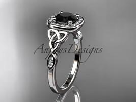 Platinum diamond celtic trinity knot engagement ring, Black Diamond CT7179 - $2,150.00
