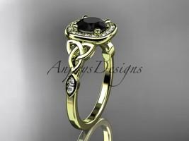 14k yellow gold diamond celtic trinity knot engagement ring, Black Diamond CT717 - $1,650.00