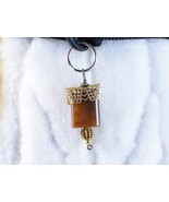 Dog cat collar charm wire wrapped Mocha Gold, h... - $9.00