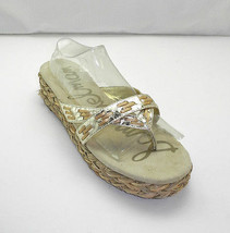 Sam Edelman Metallic Gold Leather Thong Sandal - Woven Jute Platform Sli... - $18.95