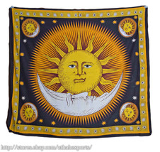 Good Morning Tapestry,Psychedelic Tapestry,Handmade,Black Tapestry,Sun T... - $28.99