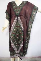 Brown Psychdelic Geometric Kaftan Robe Gown Free Size Nightwear Handmade... - ₨991.93 INR