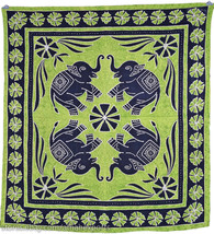 4 Black Elephants Batik Wall Hanging Art Tapestry Hippie Handmade Green ... - $28.99