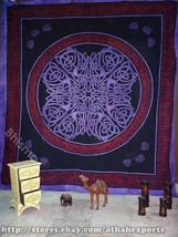 Mandala Hand Printed Tapestry Wall Decal Decor Handmade Bed Purple Wall Art - $28.99