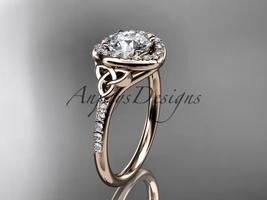 14kt rose gold diamond celtic trinity knot engagement ring, Moissanite CT7201 - $1,745.00