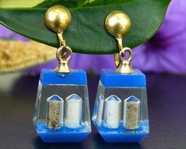 Vintage salt pepper shaker earrings dangle encased lucite screw back thumb200