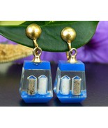 Vintage Salt Pepper Shaker Earrings Lucite Dangle Encased Screw Back - $16.95