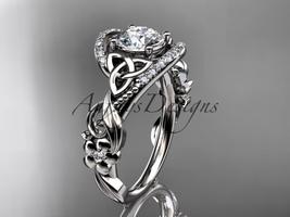 14kt white gold diamond celtic trinity knot wedding ring, engagement ring CT7211 - $1,475.00
