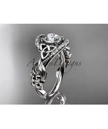 14kt white gold diamond celtic trinity knot wedding ring, engagement rin... - $1,475.00