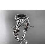 14k white gold diamond celtic trinity knot engagement ring, Black Diamon... - $1,775.00