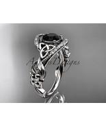 Platinum diamond celtic trinity knot engagement ring, Black Diamond CT7211 - $2,400.00