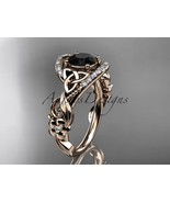 14kt rose gold diamond celtic trinity knot engagement ring, Black Diamon... - $1,775.00