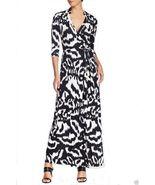 Diane Von Furstenberg $598 ABIGAIL Silk Jersey Maxi Wrap Dress Flower Ik... - $359.00