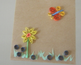 Gift Bag with Handcrafted Paper Quilled Butterfly and Flower New - $9.99