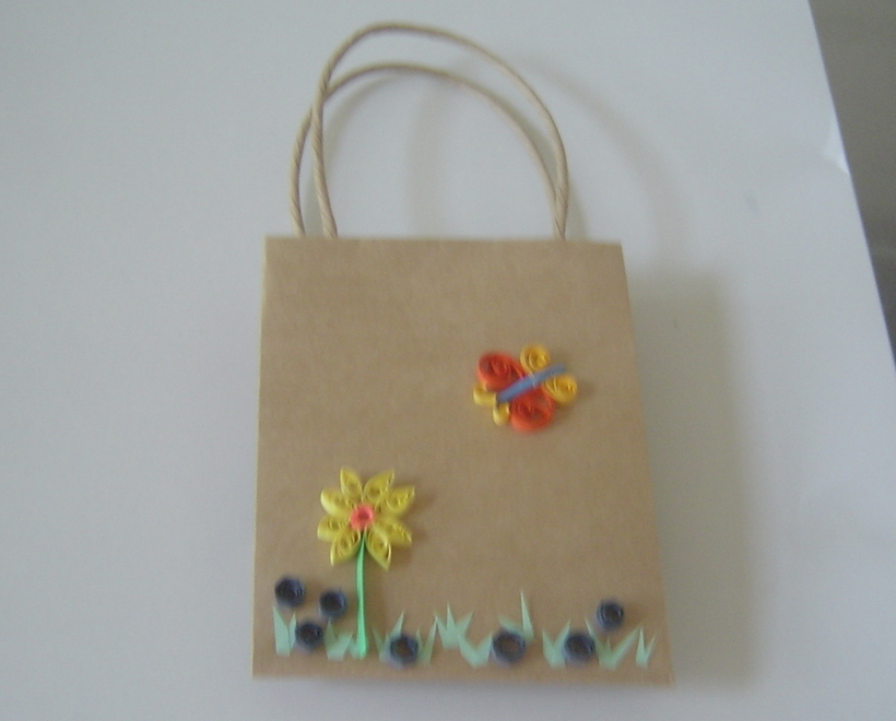 Gift Bag with Handcrafted Paper Quilled Butterfly and Flower New