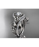 Floral engagement ring and wedding band set, Unique engagement ring set,... - $2,260.00