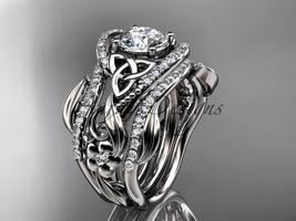 Platinum diamond celtic trinity knot engagement ring, Moissanite CT7211S - $4,140.00