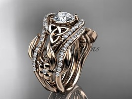 Floral engagement ring and wedding band set, Unique engagement ring set,... - $3,295.00