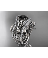 Platinum  diamond celtic trinity knot engagement ring, Black Diamond CT7... - $4,190.00