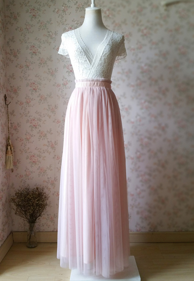 BLUSH High Waist Full Tulle Maxi Skirt Blush Wedding Women Maxi Tulle Skirts NWT