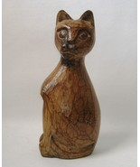 Wooden Kitty Cat Statue Figurine Sculpture Sitting Animal Brown Carved Wood - $29.00