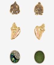 Disney Moana Kakamora Sea Shells Heart Of Te Fitis 3 Pack Earrings Set - $12.37