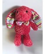 PLUSH KellyToy PINK Quilt Pattern Bunny Rabbit Plaid Ears Stuffed Animal... - $19.34