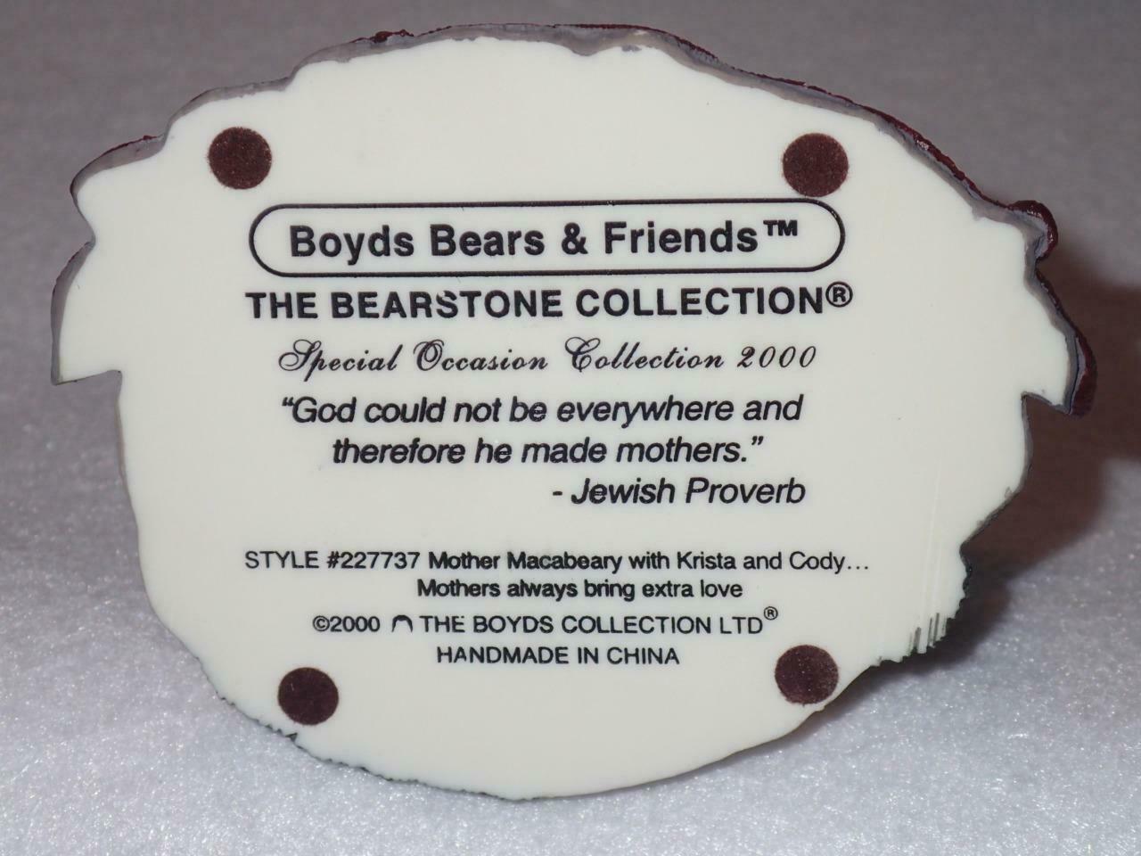 Boyd Bearstone Resin Bears Mother Macabeary With Krista & Cody Figurine #227737 image 4