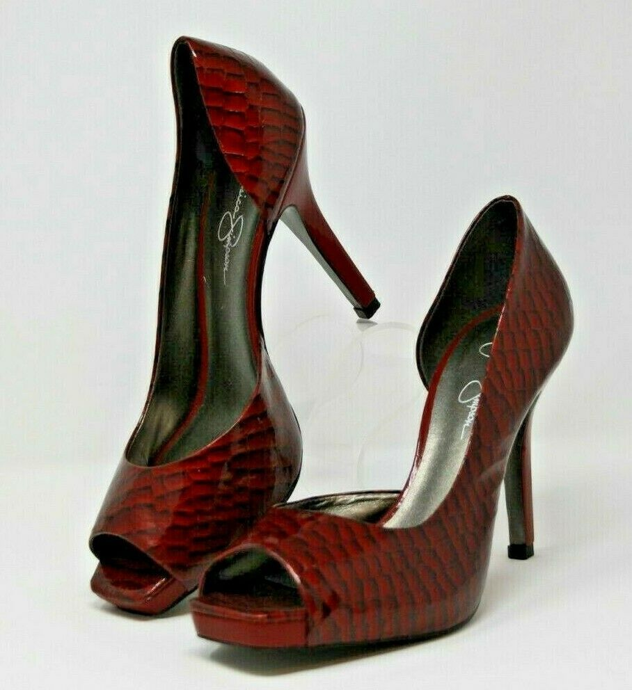 "Jessica Simpson Size 9.5 B Womens Heels Red Croc Embossed Leather Upper 4"" Heel image 2"