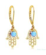 14K Gold Filled Hamsa Drop Dangle Earrings Warranty High Quality Opal Beads - $28.03