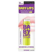 Baby Lips PEPPERMINT No 10 Moisturizing Lip Balm Sunscreen SPF 20 Maybel... - $6.00