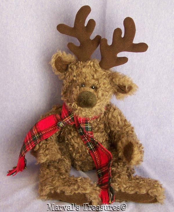 Buck the Reindeer Brown Curly Hair Tartan Scarf Russ Berrie Soft Plush Bean Bag
