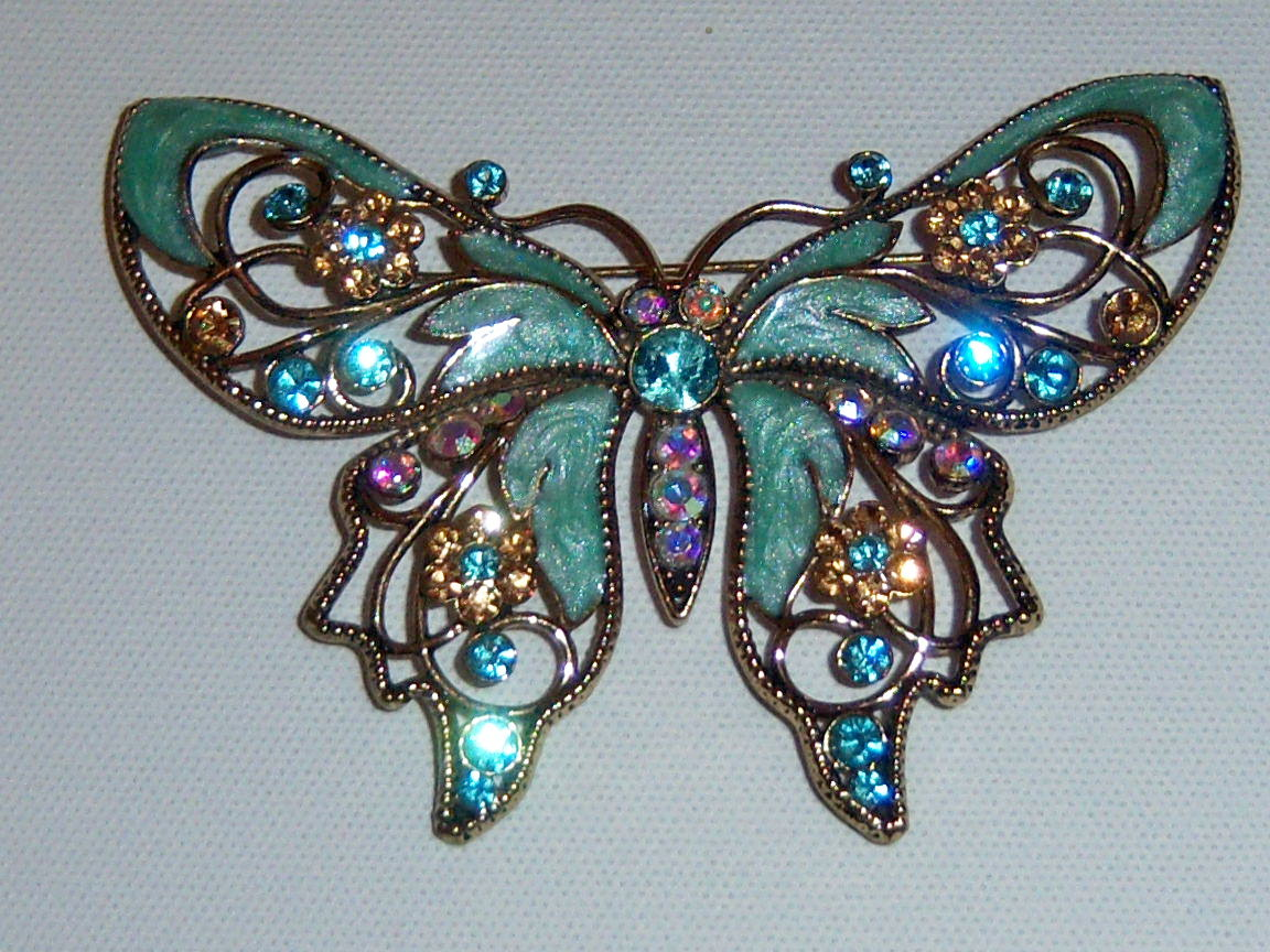 Large Green Enamel Butterfly Pin. Summer Jewelry Insect Pin. Signed.