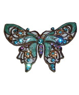 Large Green Enamel Butterfly Pin. Summer Jewelry Insect Pin. Signed. - $22.00