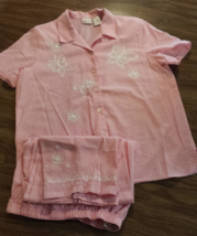 Koret Light Pink Butterfly & Flowers Blouse Womans Outfit M Medium Elast... - $18.95
