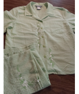 Koret Light Green Flowers 16 Capri Outfit Button up Short Sleeve Elastic... - $18.95