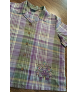 Koret Purple Short Sleeve L Large Button Up Blouse Spring - $12.95