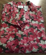 Bobbie Brooks Woman's 14W/16W Red Flower Short Sleeve Button Up Blouse - $12.95