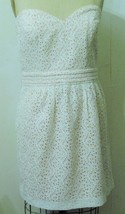 NEW URBAN OUTFITTERS COTTON WHITE PINK EYELET BELTED STRAPLESS DRESS 12 - £50.62 GBP