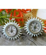Vintage Coro Real Compass Earrings Miniature Working Germany - $19.95