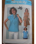 Simplicity Jiffy  Missy Size 14 Pullover Top & Skirt 1977 # 7963 - $4.99